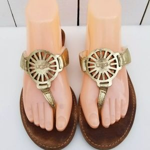 UGG 6.5 - 7 Gold Leather Thong Sandals